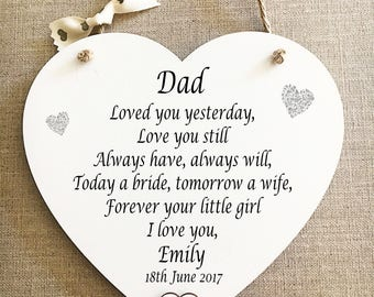 Father of the Bride Heart Thank You Gift Dad Wedding Wooden Card Plaque W255