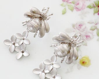 Bee Earrings - Honey Bee Earrings - Maid of Honor Earrings - Elegant Earrings for Her - Dangle Earrings for Mom - Silver Date Night Earrings