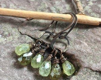 Grossular garnet earrings, copper and garnet, handmade, rustic, blue stone, natural, teardrop