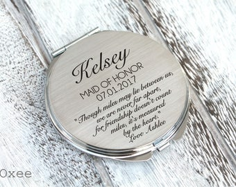 Personalized engraved pocket mirror | compact mirror | wedding gift | bridesmaids gift, maid of honor, thank you for being my