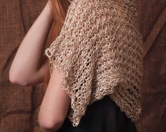 Gold summer shrug, loose knit, short sleeves knit, shoulder warmer, womens gifts, OOAK, fashion bolero, elegant cover up, short knitted wrap