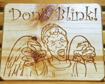 Doctor Who, Weeping Angel, Don't Blink, Doctor Who Weeping Angel, Whoovian Carved Wooden Sign, Wooden Signs, Doctor Who Angel, Ashland City