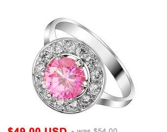halo engagement ring pink engagement ring pink promise ring for her pink wedding ring round cut - Pink Wedding Ring