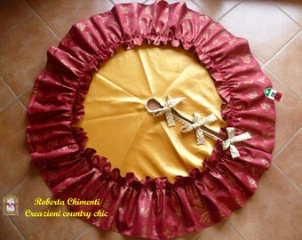 Christmas tree skirt, christmas tree decor, christmas decor, tree skirt with ruffle, tree pedestal cover, Christmas gift, New year's decor