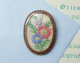 Vintage Hand Embroidered Brooch