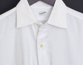 Size 15.5/35 Manhattan vintage white Range Collar spread collar French cuff shirt