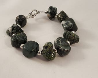 Chunky Black / Gray Stone Beaded Bracelet - Chunky Stone Bracelet - Black Bracelet - Stone Bracelet - Chunky Bracelet - Black Stone - Black