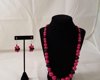Pink & Black Glass Pearl Jewelry Set - Pink Pearl Necklace - Black Pearl Necklace - Pink Pearl Earrings - Black Pearl Earrings - Pink -Black