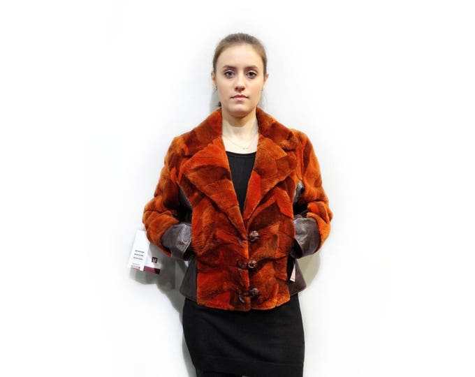 Sheared Beaver Fur Jacket,Fur and Leather Jacket F138