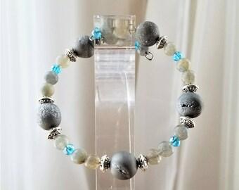 Natural Crystal and Labradorite Semi-Precious Gemstone Bracelet, Bangle, Protection Stones, Silver Plated, Crystal