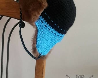 3 years - fur lined helmet crochet made with recycled fur