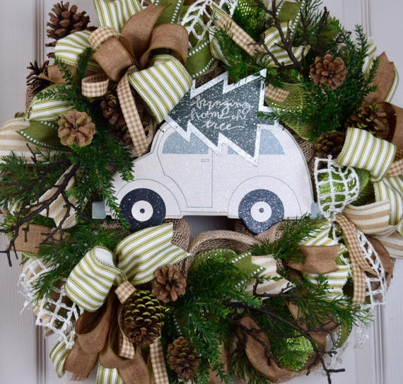 Bringing Home the Tree Burlap and Mesh Wreath with Pine Branches and Pine Cones; Green Beige Winter Holiday Wreath; Christmas Wreath Decor