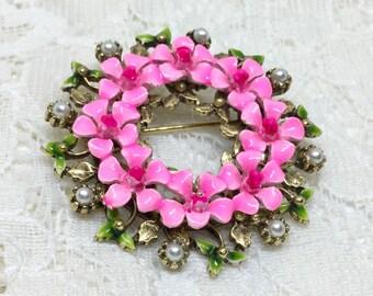 Vintage ART Signed Pink Enamel Floral Wreath Brooch Pin