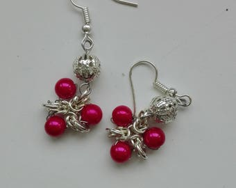 Earrings with rings and beads