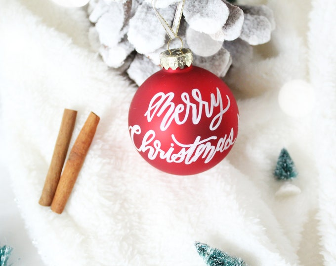 Featured listing image: Personalized Red Glass Christmas Ornaments - Calligraphy ornaments - Hand scripted ornament - personalized holiday decor - Christmas gift