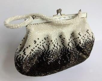 Vintage Beaded Purse, Gorgeous White and Metallic Bronze Beaded Evening Bag, Glass Beaded Purse Wedding Bridal Formal Elegant Evening Bag
