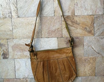 Fossil Genuine Leather Crossbody Bag, Vintage leather Shoulder Strap Bag, Distressed Vintage Authentic Fossil Crossbody, Bag Messenger,