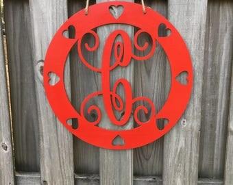 Heart Valentine Door Hanger, Heart Door Hanger, Single Letter, Script Monogram, Door Hanger, Valentine Door Hanger