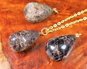 Garnet Necklace - Tumbled Gemstone Pendant - Polished Crystal Teardrop - Gold Earrings (L9) Healing Crystals and Stones Jewelry