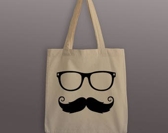 Mustache and Glasses Tote Bag - Cotton Tote - Hipster Tote - Hipster Bag - Mustache Tote Bag