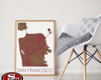 49ers Gift /San Francisco 49ers Gift/ 49ers Poster / 49ers Memorabilia / San Francisco Map / 49ers Football / 49ers Wall Art