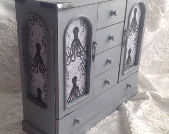 Jewelry Armoire Jewelry Box Shabby Chic Octopus Fabric Panels Vintage Wood Jewelry Box Hand Painted Gray