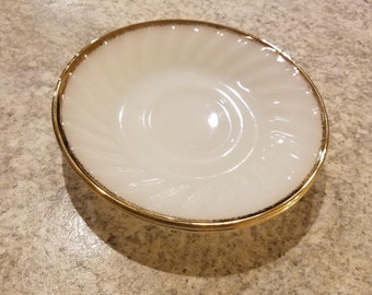 Fire King Milk Glass White Swirl with Gold Rim Saucers (2)