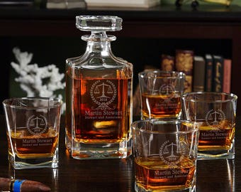 Thurgood Personalized Whiskey Decanter and Glass Set - Great Gift for Dads Graduates Law Students Law Graduates Lawyer Retirement Promotion