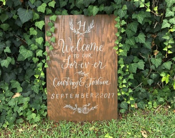 Wedding Painted sign, Calligraphy, Welcome to our Wedding