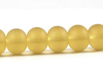 Recycled Cultured Sea Glass Rondelle Beads Matte Desert Gold Pale Topaz Yellow 14x11mm