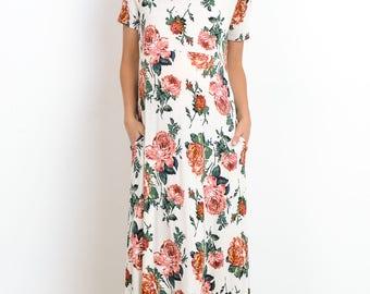 Hello Miz Floral Print Round Neck Pocket Maxi Maternity Dress