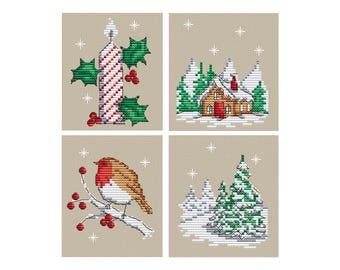 Elements of Winter - Set of 4 - Durene J Cross Stitch Pattern - DJXS2241