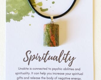 Unakite Necklace for Spirituality - unakite pendant, unakite jewellery, unakite jewelry, crystal necklace, spiritual jewellery