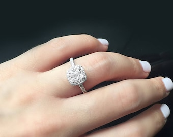 Radiant Cut 1 Carat Diamond Halo 18K White Gold Engagement Ring/ Half Eternity Natural Diamond Ring/ Handcrafted Custom Jewelry Gift for Her