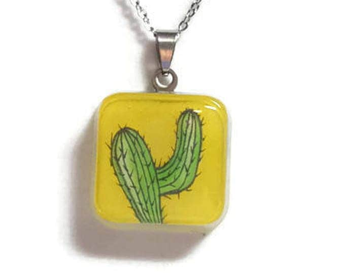 Yellow Green cactus pendant on stainless steel chain cactus necklaces cactus accessories cactus motif jewelry