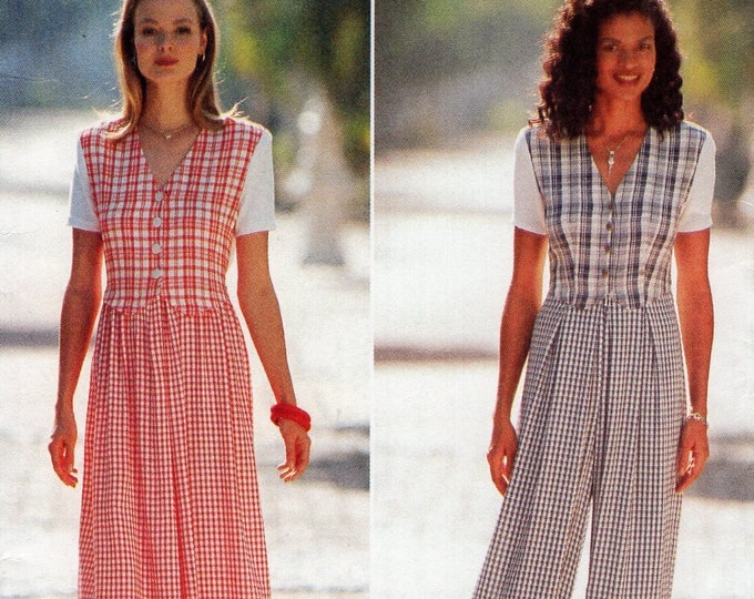 Free Us Ship Sewing Pattern Butterick 3975 EXPO Dress Jumpsuit Retro 1990s 90's Loose Fitting  High Waist Size 6 8 10 Bust 30.5 31.5 32.5