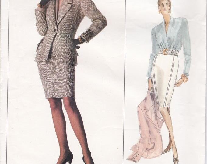 FREE US SHIP Vogue 2159 Designer Oscar de la Renta Sewing Pattern Uncut Size 12 14 16 Bust 34 36 38 Suit Jacket Skirt Blouse
