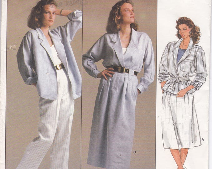 FREE US SHIP Vogue 1542 Designer Anne Klein Sewing Pattern Uncut Size 14 Bust 36 Suit Jacket Skirt Pants Loose Fitting