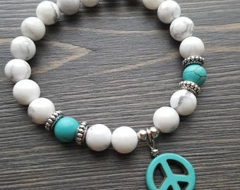 Turquoise and white elastic strech bracelet , yoga, howlite , stackable, semi-precious stones