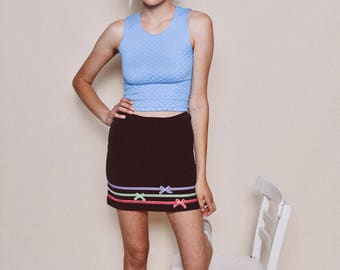 90s vintage black velour high waisted striped ribbon bow mini skirt