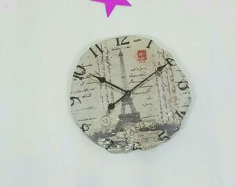 Paper clock brooch