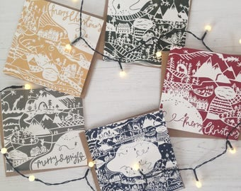 Square Christmas Cards, Luxury Pack of 5, Papercut, Unique, Cute Christmas Cards, winter fun, polar bear, winter scene