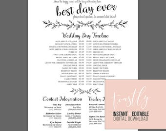 Wedding timeline etsy editable wedding timeline edit in word phone numbers and timeline day of wedding junglespirit Images