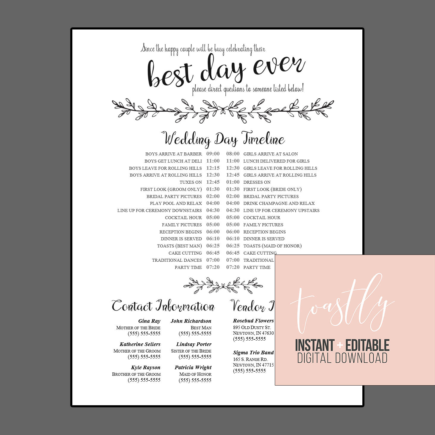 Wedding Day: Editable Wedding Timeline Edit In Word Phone Numbers And