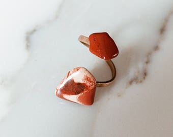 Red and Yellow Jasper Double Stone Adjustable Brass Ring