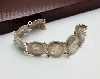 Bracelet silver 800 symbols noble Roman Greek rar SK316