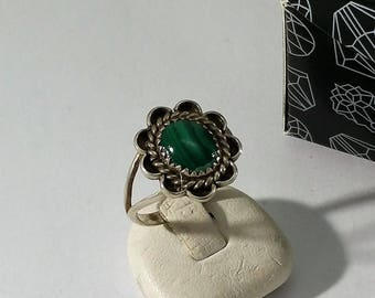 19 mm ring 925 Silver Malachite flower unique SR1004