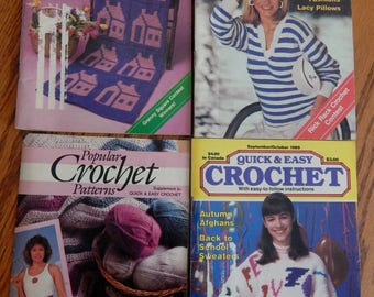 Vintage Popular Crochet Patterns Magazines from 1989 (4 magazines)