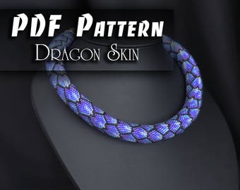 PDF Pattern for beaded crochet necklace - Jewelry patterns - DRAGON SKIN