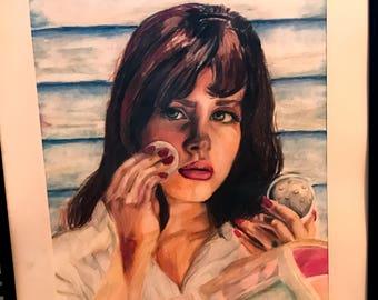 Honeymoon Lana Del Rey colored pencil drawing (original)